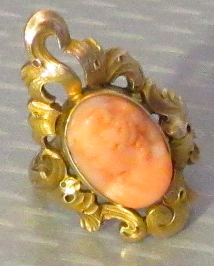 Victorian Pink Coral Cameo Ring