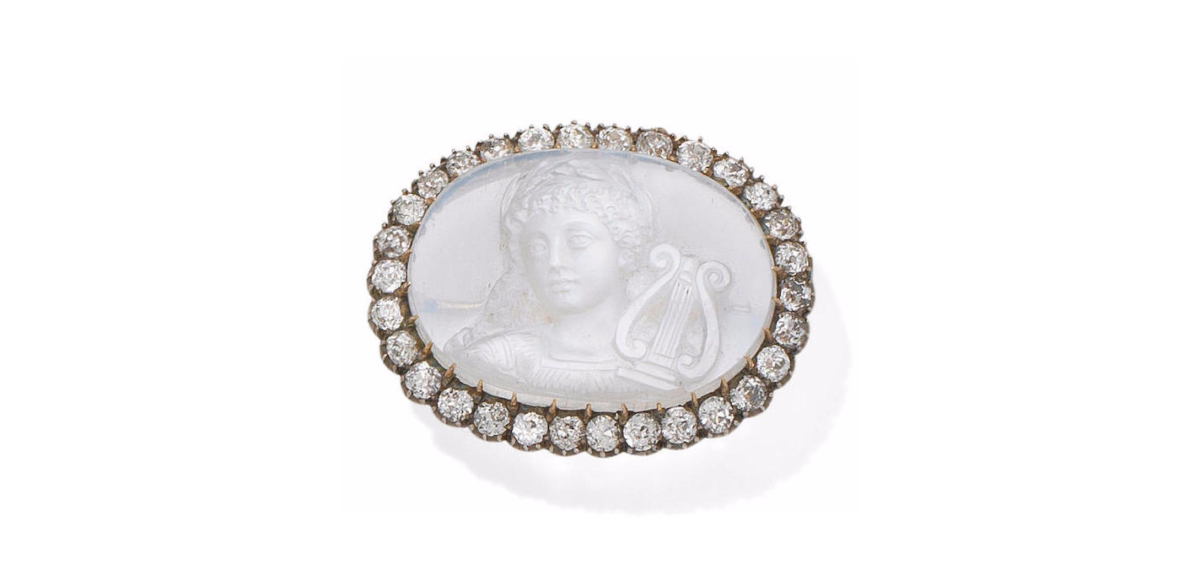 A moonstone and diamond cameo brooch, circa 1900